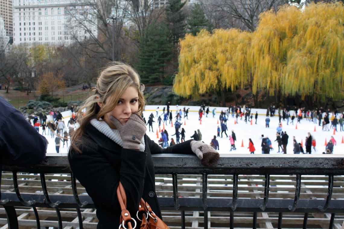 ice skating at Central Park, pre-engagement