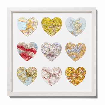 vintage heart map art